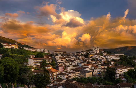 Storm Clouds at Sunset Over the Colonial City of Ouro Preito - Minas Gerais, Brazil