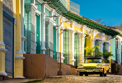 1959 Ford Fairlane on the Cobbled Streets of Colonial Trinidad - Trinadad, Cuba