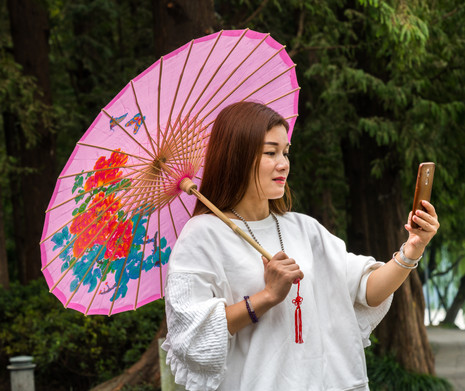 Selfie and Umbrella - West Lake, Hangzhou, China