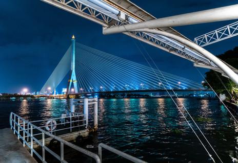 Rama VIII Bridge from Khinlon Chom Saph Restaurant - Bangkok
