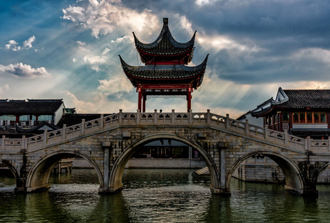 Classical Chinese Bridge and Temple - Suzhou, Jiangsu, China