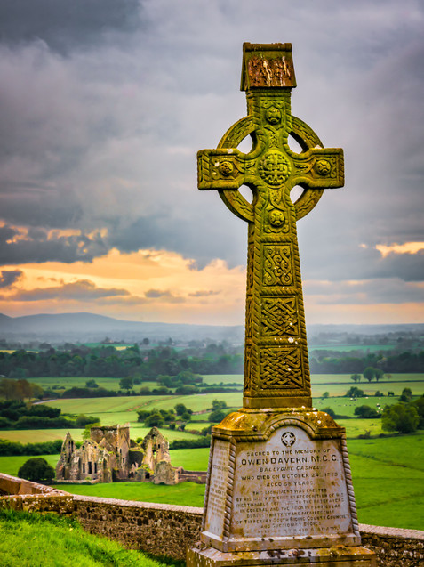 Celtic Cross and Ruins - Rock of Cashel, County Tipperary