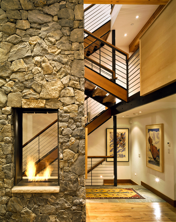 Fireplace and Stairway - Vail, Colorado