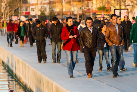 Turks Strolling Along the Waterfront in Canakkale at Sunset - Canakkale, Turkey
