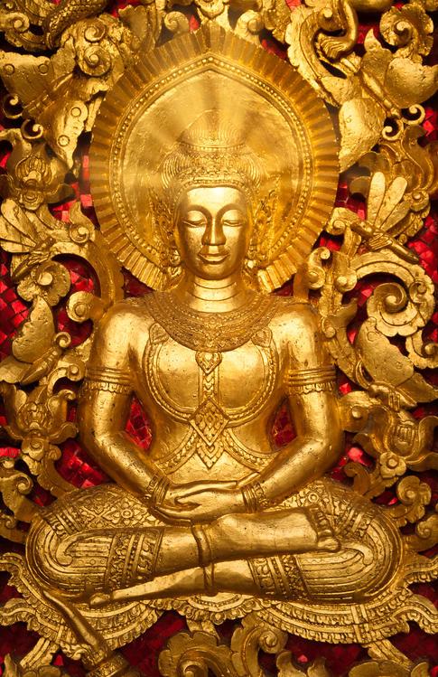 Buddha Detail on a Temple Door  - Luang Prabang, Laos
