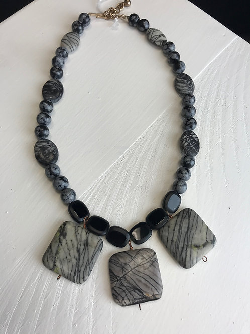 """Zebra Stone Necklace"" by Beverly Morgan"