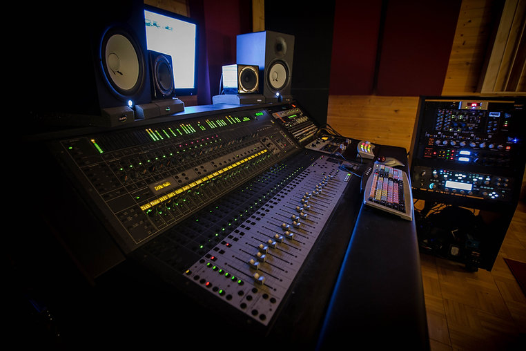 Sound Cellar Recording Studio console, mxing board, desk.