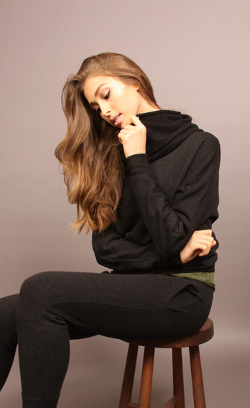 FRENCH TERRY COWL NECK SWEATSHIRT