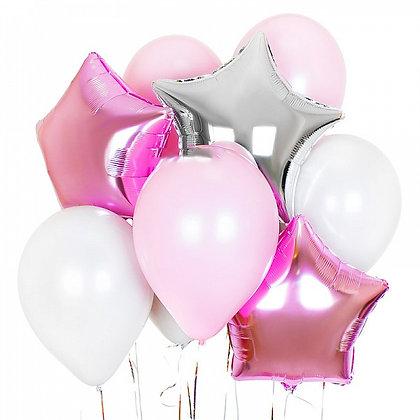 Набор розовый и серебро 780