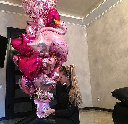 Розовый фламинго с метровым шаром