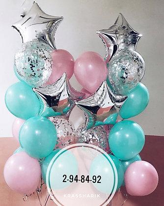 Фонтаны №1000/ в цвете серебро-мята -розовый