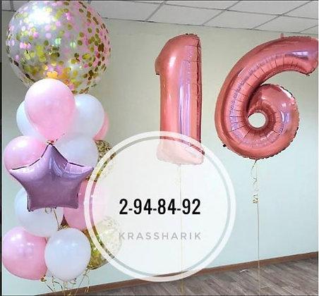 Набор: стеклянные шарики и цифры розовое золото