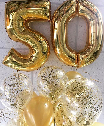 Цифры + золото шары