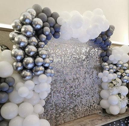 Стена серебро + шары