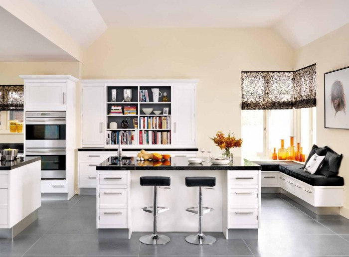 modern-kitchen-design-ideas-also-swivel-adjustable-barstools-with-glossy-black-countertop-and-kitche