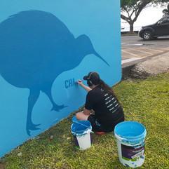 Janine painting Kiwi