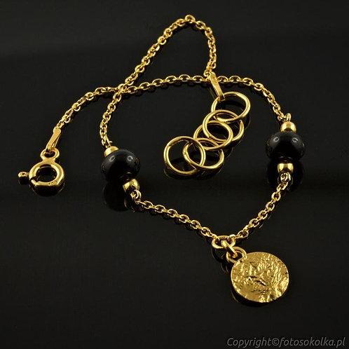 Złocona bransoletka łańcuszek z onyksem