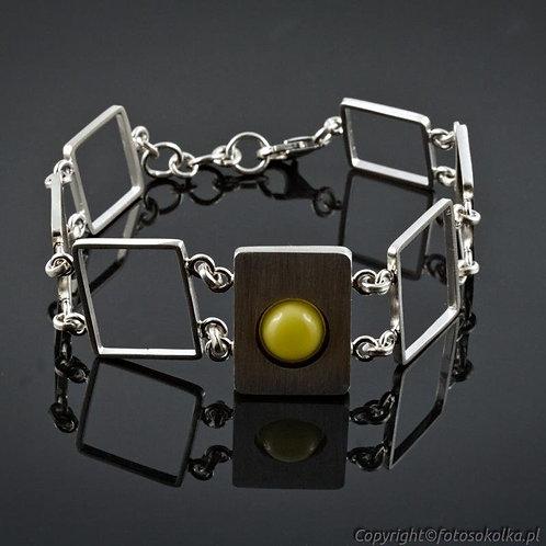 Srebrna bransoleta z bursztynem
