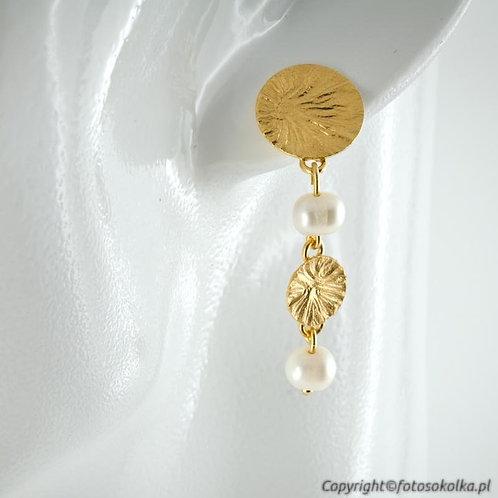 Kolczyki perła ze złoconym srebrem