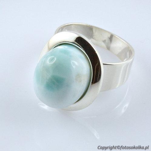Srebrny pierścionek larimar
