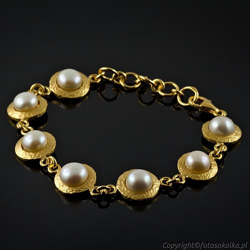 Złocona bransoletka z perłami