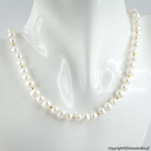 Złocona kolia z perłami