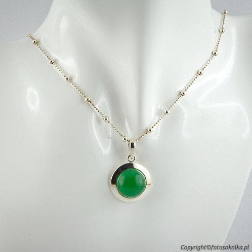 Srebrny wisiorek zielony agat