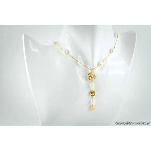 Złocony łańcuszek z perłami