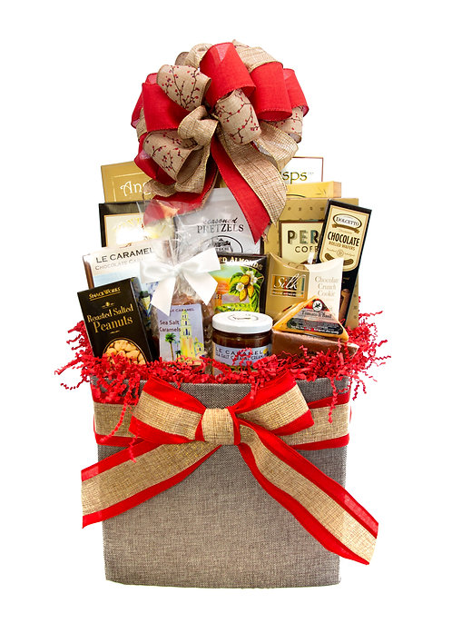 Gourmet Holiday Canvas Gift Basket