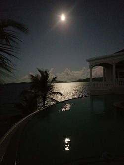 Full moon over St John from deek