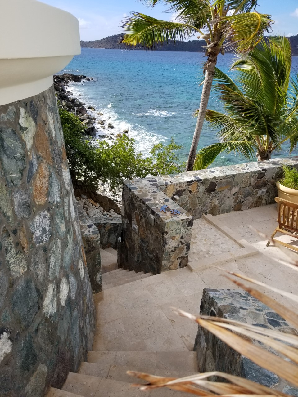 Stairs to lower deck and ocean