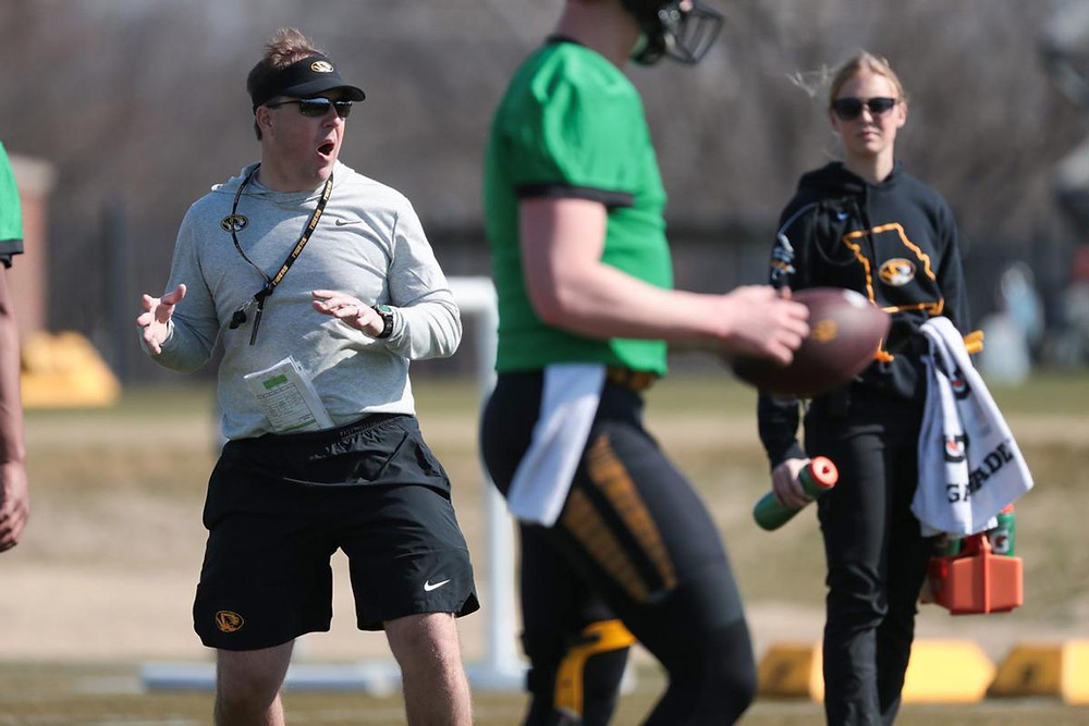 Missouri football coach Eliah Drinkwitz leads the team's first spring practice on the team's practice fields in Columbia, Mo., on Saturday, March 7, 2020. (Photo by Zach Bland / Mizzou Athletics)