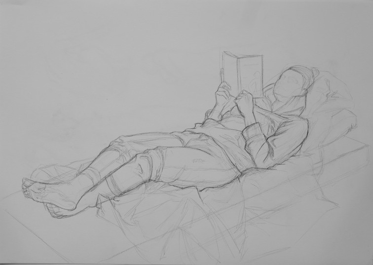 Lying study, clothed