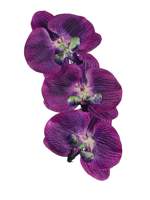 Kristina Purple Orchid Cascade Hair Flower