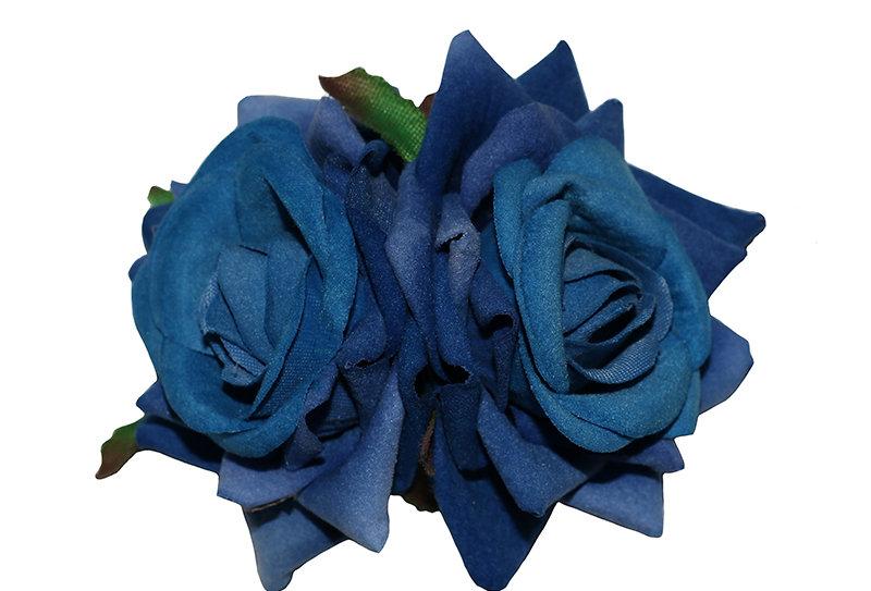ELLEN Small Double Rose Hair Flowers - Blue