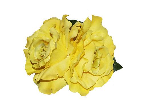 ANITA Double Yellow Rose Hair Flower