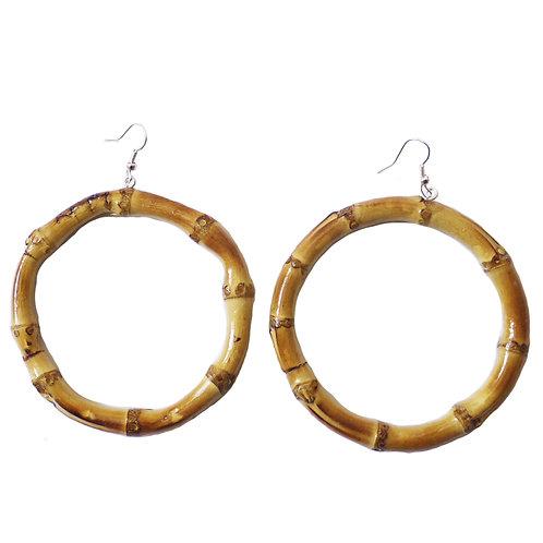 Oversized Round Tiki Bamboo Earrings (Original)