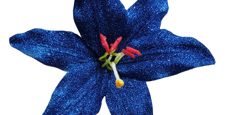 Paloma Glitter Lily Hair Flower - Blue