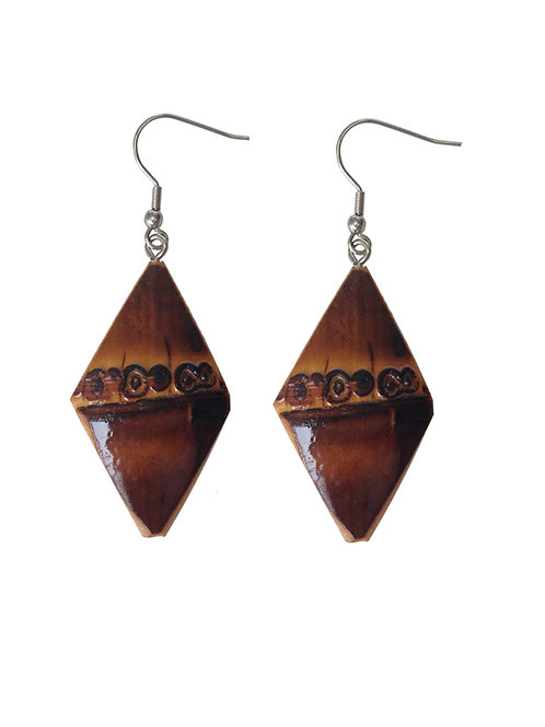 Diamond Tiki Bamboo Earrings (Burnt Wood)