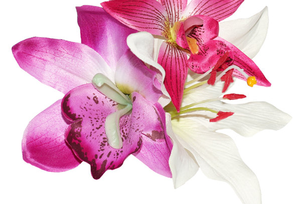 LORI Pink Orchid and Lily Tropical Hair Flower