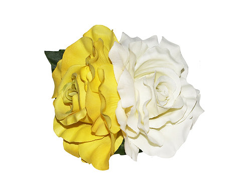 ANITA Double Yellow/Cream Rose Hair Flower