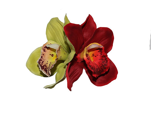 GINGER Double Green/Red Orchid Hair Flower