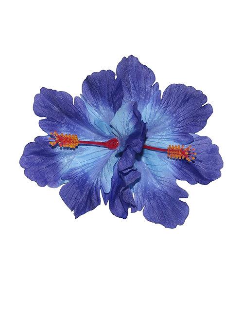 DEBRA Double Hibiscus Hair Flower in Blue