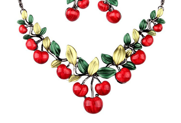 Vintage Style Cherry Jewellery Set