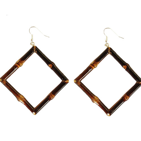 Square Tiki Bamboo Earrings (Burnt Wood)