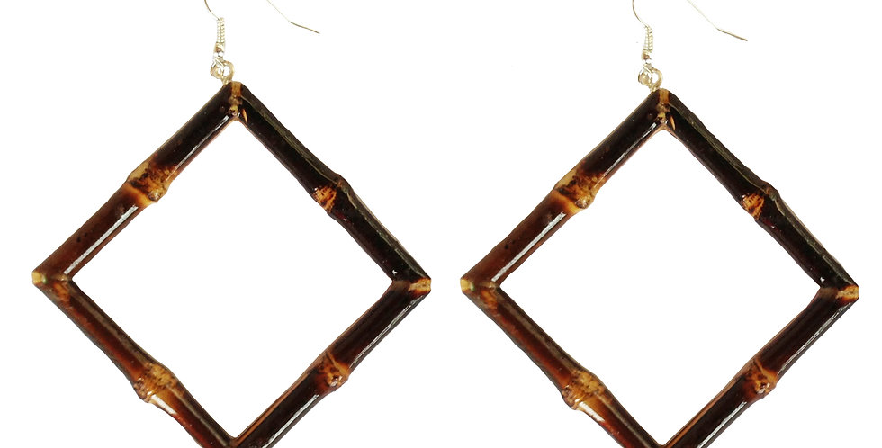 Square Bamboo Earrings (Burnt Wood)