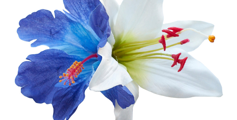 DEBRA MAY Hibiscus and Lily Hair Flower (Blue)
