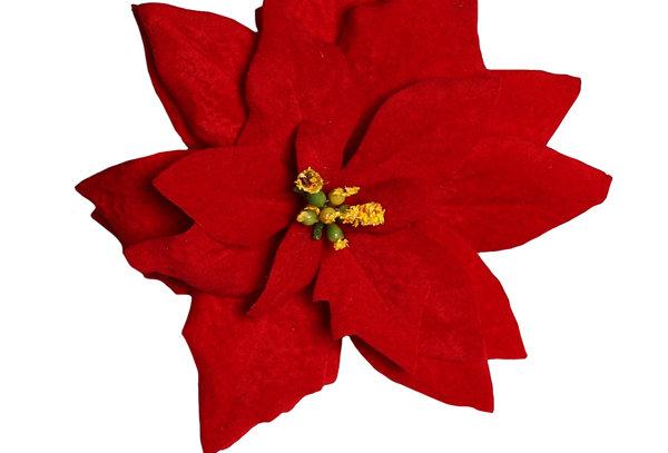 Red Poinsettia Christmas Hair Flower