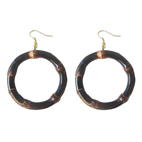 Round Tiki Bamboo Earrings (Burnt Wood)