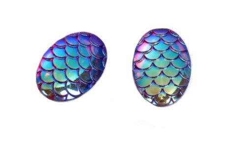 Mermaid Scale Earrings / Aqua